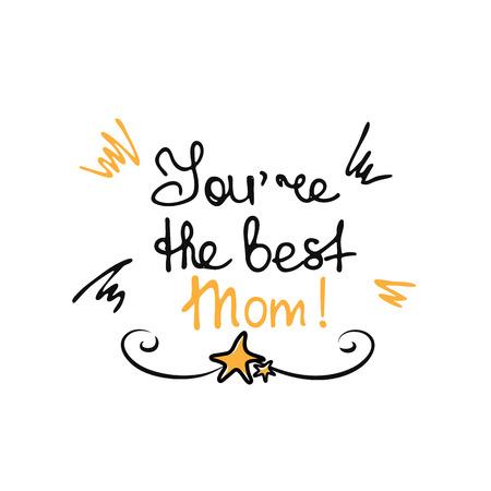 Pegatinas de letras de mano de feliz día de la madre