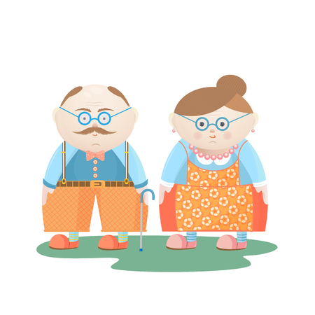 National Grandparents Day. Funny Grandfather and grandmother.