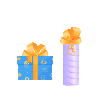 festive boxes with gifts tied with satin bows