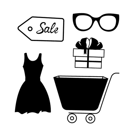 Set of linear icons for sale. Dress, trolley, gift box, glasses, badge 向量圖像
