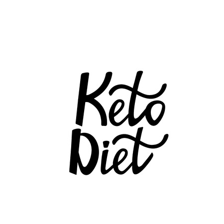 Keto diet hand drawn vector lettering. Low carb diet collage black lettering. Ketogenic nutrition illustration.