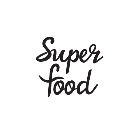 Superfood super food text green leaf black white logo vector creative company icon design template color colorful black background handwritten handwriting