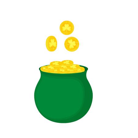A pot of gold coins with a clover leaf Ilustração