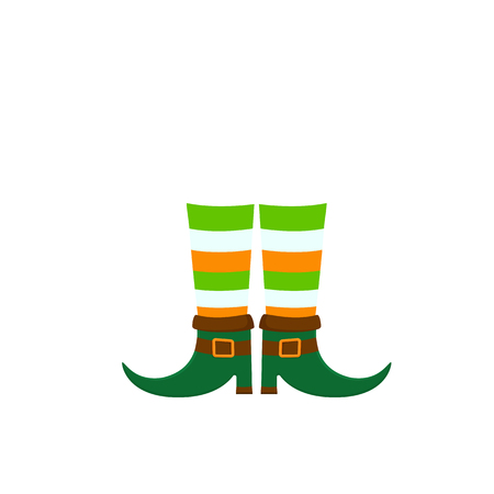 Happy Patricks Day, leprechauns boots vector isolated on white background