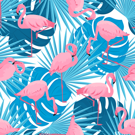 Graceful flamingos and monstera and palm leaves. Tropical summer seamless pattern Иллюстрация
