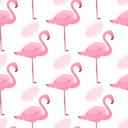 Graceful flamingos and fern leaves. Tropical summer seamless pattern