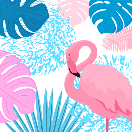 Pink flamingo2. Trendy tropical design. Leaves of palm, monstera, fern.