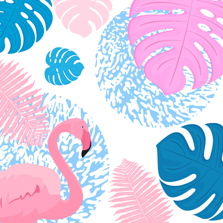 Pink flamingo3. Trendy tropical design. Leaves of palm, monstera, fern.