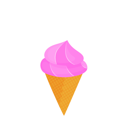Ice cream cone in Waffle Cup vector isolated on white background
