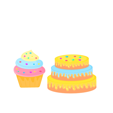 birthday cake. cupcake. sweet food. dessert vector isolated on white background