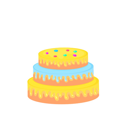 birthday cake. sweet food. dessert vector isolated on white background