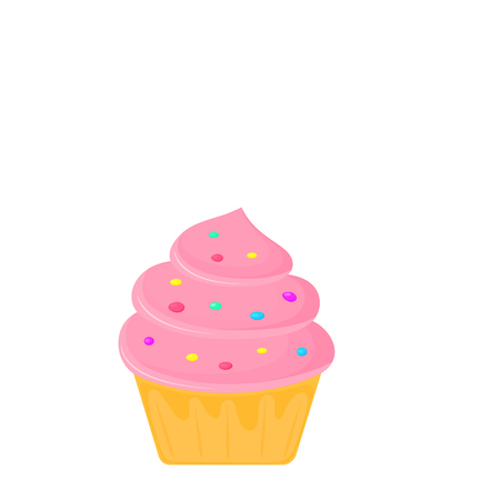 Cream cake. cupcake. sweet food. dessert vector isolated on white background