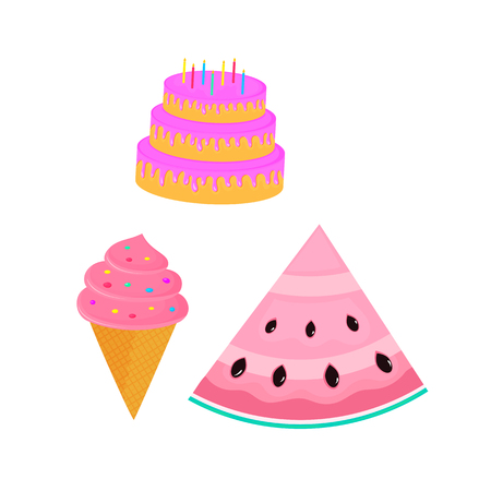 birthday cake. cupcake. ice-cream. sweet food. dessert vector isolated on white background