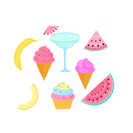 cocktail, margarita, banana, melon, fruit, ice cream, cupcake, watermelon