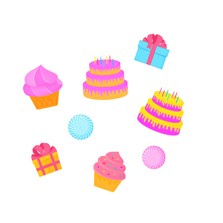 birthday cake. cupcake. gift. sweet food. dessert vector isolated on white background