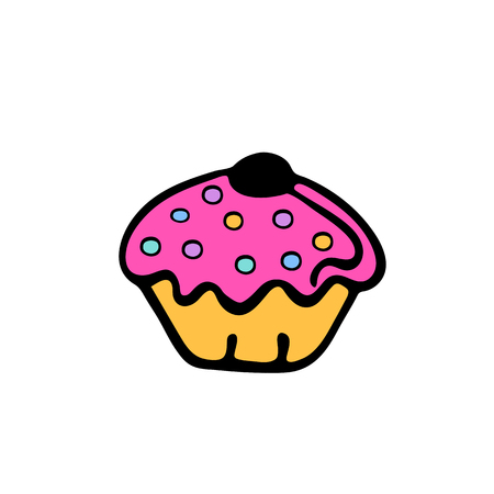 cupcake. sweet food. dessert vector isolated on white background