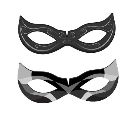 Beau masque de mascarade en dentelle noire isolé sur fond blanc. Illustration vectorielle