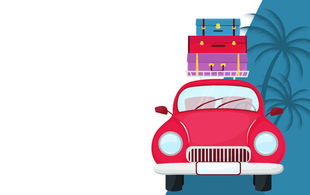 Retro car with suitcases on the roof. Traveling concept Stock Illustratie