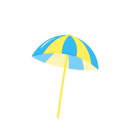 Beach Umbrella blue and yellow. The symbol of a holiday by the sea