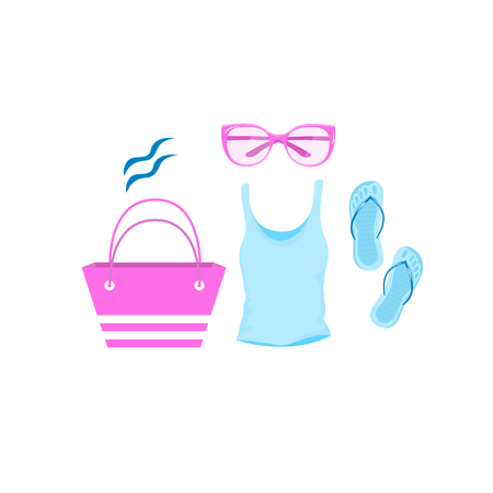 Female summer t-shirt, beach bag, sunglasses, sandals 免版税图像 - 122045477