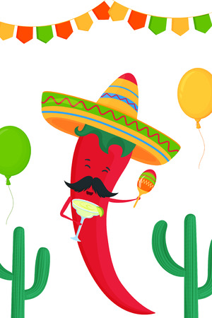 Funny chili pepper in a sombrero with margarita cocktail and maracas. Festive poster