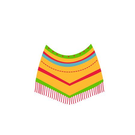 poncho mexicano nativo americano. Ropa de fiesta de colores étnicos Ilustración de vector