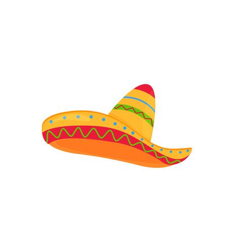 sombrero. vettore di cappello messicano isolato su sfondo bianco Vettoriali