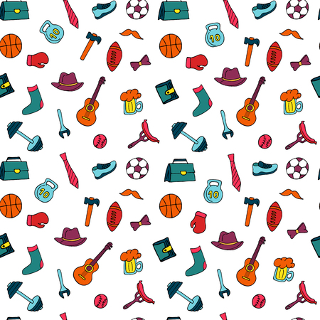Father`s Day holiday seamless pattern in doodle style. Men`s lifestyle, sports equipment, clothes and accessories 矢量图像