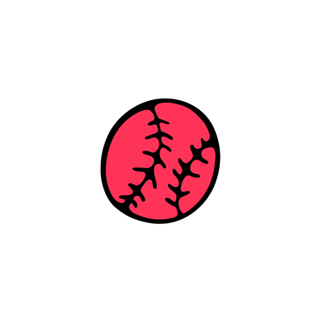 Baseball Ball icon in doodle style isolated on white background
