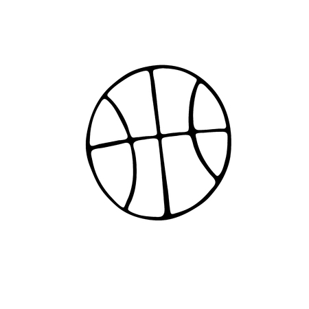 Basketball Ball icon in doodle style isolated on white background