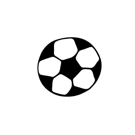 Icono de balón de fútbol en estilo doodle aislado sobre fondo blanco
