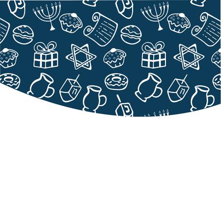 Set of Chanukah Traditional attributes of the menorah, dreidel, oil, Torah, donut . frame in doodle style