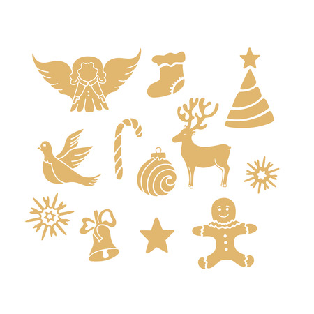 Angel, deer, lollipop, gingerbread man, bell, dove. New Year decorations.
