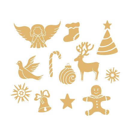 Angel, deer, lollipop, gingerbread man, bell, dove. New Year decorations.