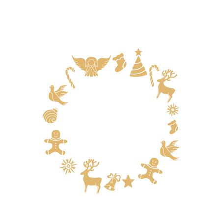Angel, deer, lollipop, gingerbread man, bell, dove. New Year decorations. Round frame. Illustration