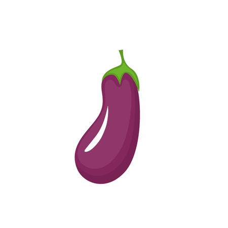 Flat illustration of eggplant vector icon isolated on white background Ilustração