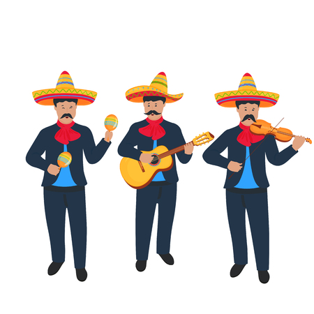Mariachi. Banda callejera mexicana en traje nacional tocando instrumentos musicales.