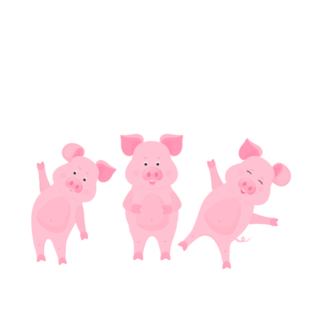 Cute pig cartoon characters. Piggy. Funny animal. Illustration