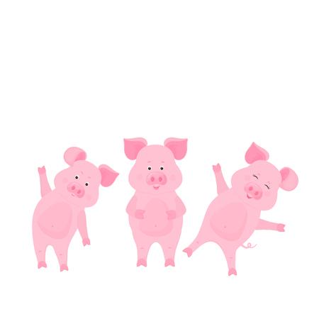 Personnages de dessins animés de cochon mignon. Porcin. Animal drôle.