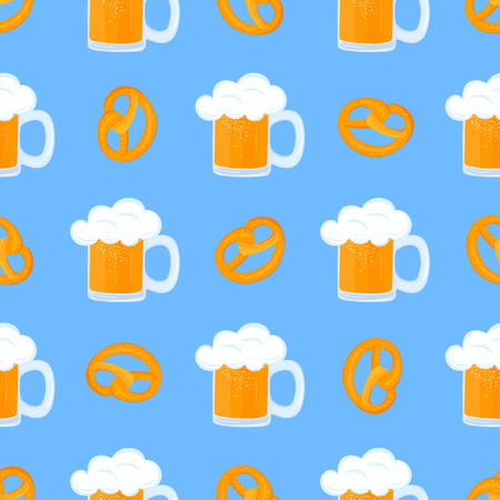 Bretzel and Mug of beer with foam. Traditional German pastries. National food to Oktoberfest. Seamless pattern Vettoriali