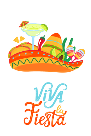 Cinco de Mayo. Viva la Fiesta. Hand drawn lettering. Festive posters to the Mexican national holiday. Sombreros, maracas. Margarita cocktail, tacos, avocado, lime Illustration