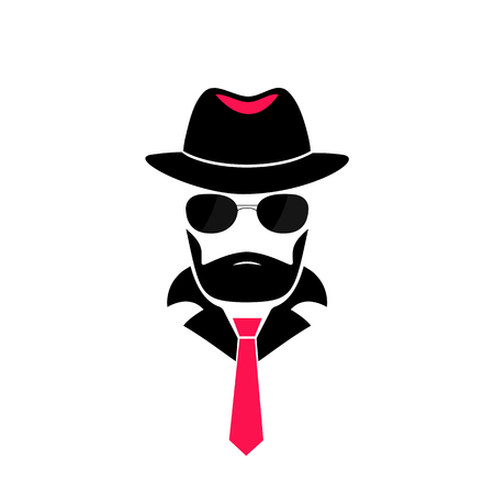 Bearded man in a hat and in sunglasses. Gentleman icon in mafia style for male store, a barber shop. Incognito. Spy Ilustração