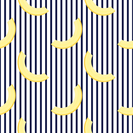 Pieces of melon. Horizontal striped Summer seamless pattern. Used for design surfaces, fabrics, textiles, packaging paper, wallpaper