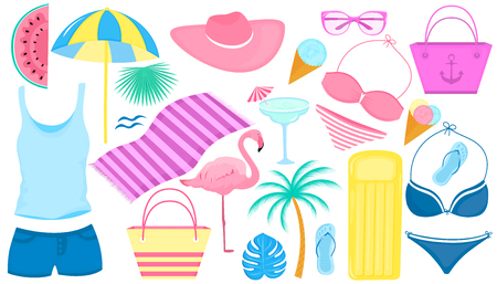 Summer set of decorative items for a beach holiday. Swimsuit, flamingo, palm tree, slices of watermelon, glasses, ice cream, inflatable lounge, cocktail, flip flops