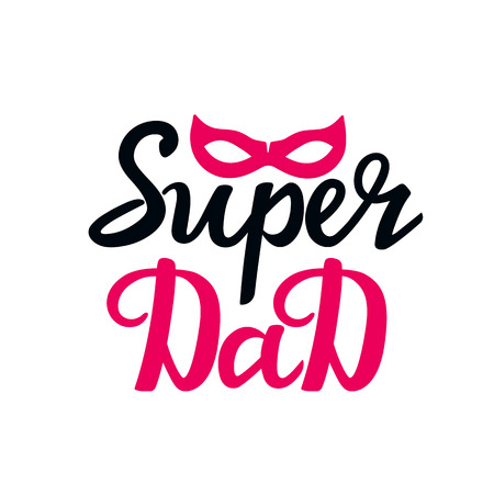 Super Dad hand drawn text with superhero mask. Greeting card, poster or t-shirt design. Standard-Bild - 124304798
