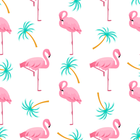Flamingo and palm tree. Summer tropical seamless pattern. Used for design surfaces, fabrics, textiles, packaging paper, wallpaper. Standard-Bild - 124277284