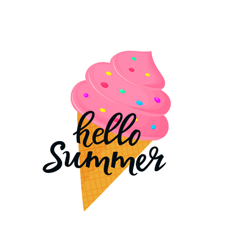 Hello summer hand drawn lettering with ice cream in a waffle cone. Can be used as t-shirt design Standard-Bild - 124330942