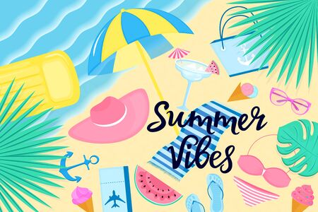 Summer vibes banner. Beach vacation on a tropical island. Womens clothing and accessories.