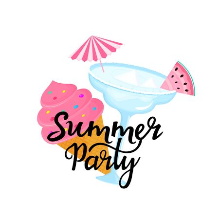 Summer party hand drawn lettering with Margarita cocktail with umbrella and slice of watermelon. Ice cream in a waffle cone. Can be used as t-shirt design Standard-Bild - 124576136