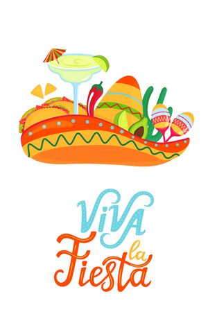 Mexican sombrero, margarita, maracas, cactus, tacos, avocado and chili pepper. Viva la fiesta hand draw lettering. Festive poster for Cinco de Mayo and other Latin holidays